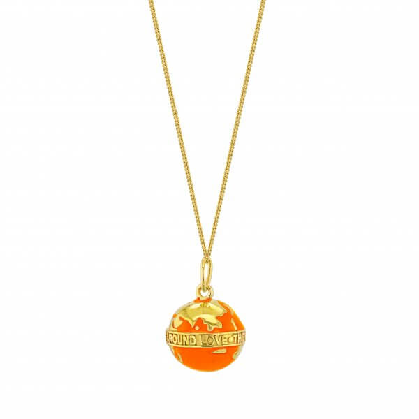 MINI ORANGE & GOLD GLOBE PENDANT ON FINE GOLD CHAIN