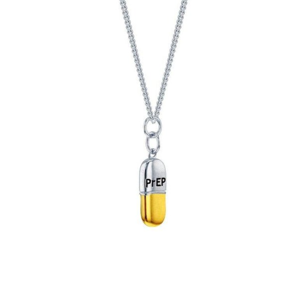PrEP 2 TONE SMALL FLAT PILL PENDANT ON SILVER FINE CHAIN