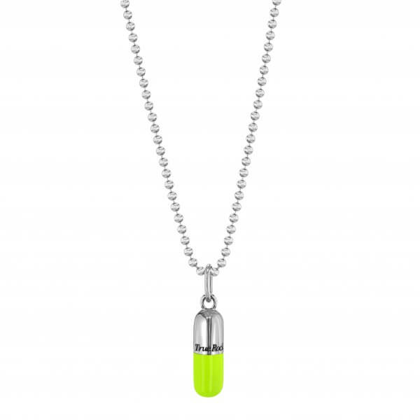 SMALL NEON LIME GREEN & SILVER PILL PENDANT ON SILVER BEAD CHAIN