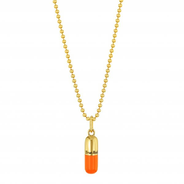 SMALL ORANGE & GOLD PILL PENDANT ON GOLD BEAD CHAIN