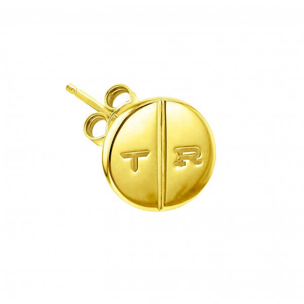 18 kt GOLD PLATED SINGLE ROUND PILL STUD