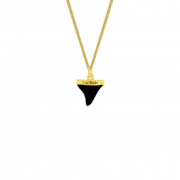 Black & Gold Sharks Tooth on Fine Chain