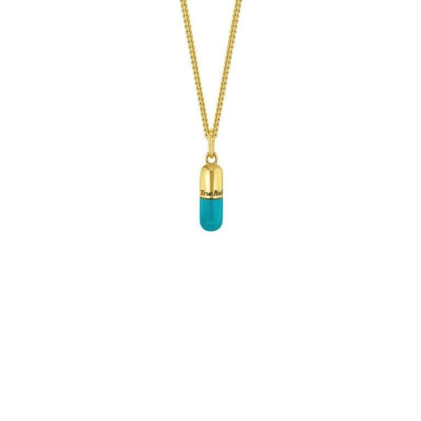 MINI Gold & Turquoise on fine chain