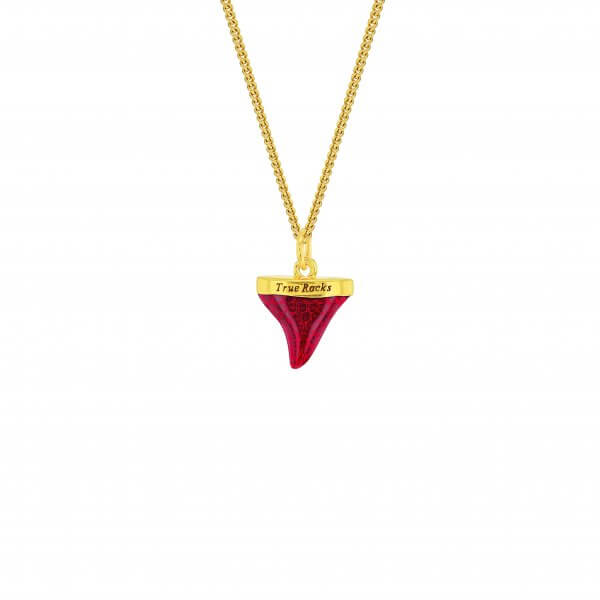 MINI RED & 18KT GOLD PLATED SHARKS TOOTH ON FINE GP CHAIN