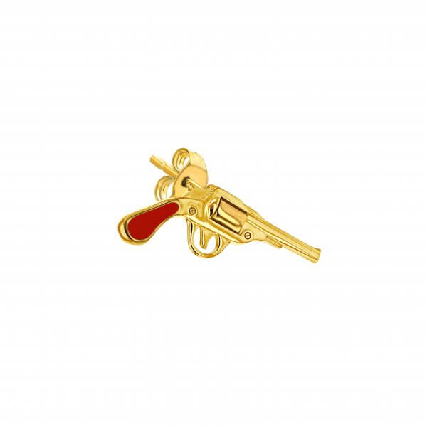 Red Gold Gun Stud Earring Left