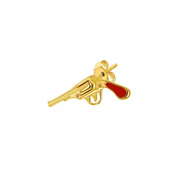 Red Gold Gun Stud Earring Right