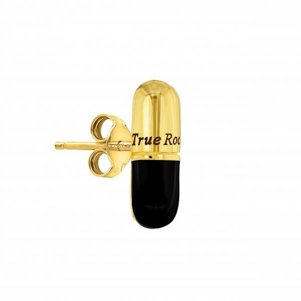 Black Enamel & Gold Plated Single Pill Stud