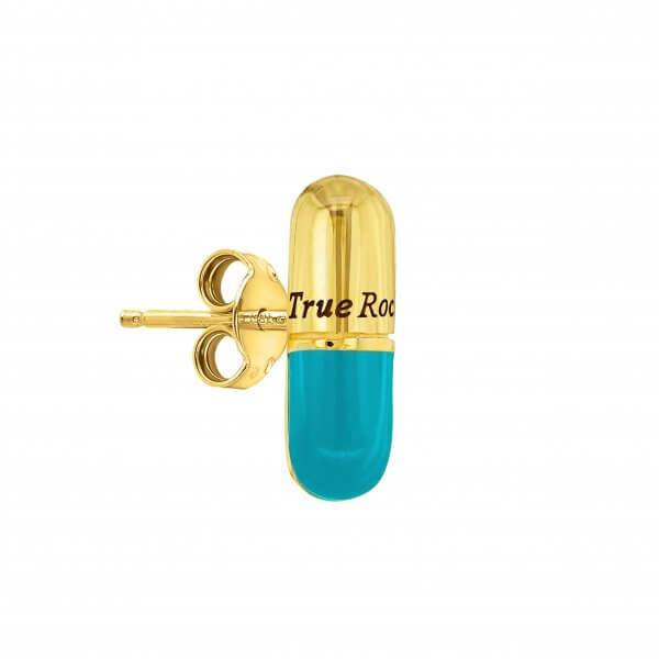 Turquoise & Gold Plated Single Pill Stud