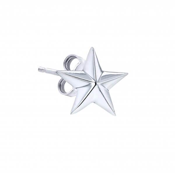 Silver Single Star Earring
