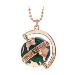 Deep Green Enamel & Rose Gold Small Spinning Globe Pendant