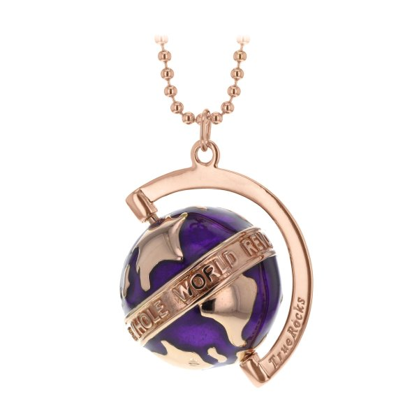 Deep purple Enamel & Rose Gold Small Spinning Globe Pendant
