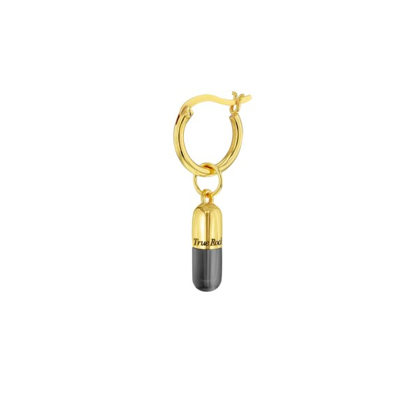 18kt Gold Plated Gun Metal Sterling Silver MINI Pill Charm on Gold Hoop RESIZED