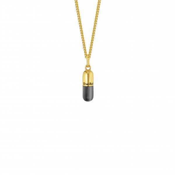 18kt Gold Plated & Gun Metal Sterling Silver MINI Pill Pendant – Copy