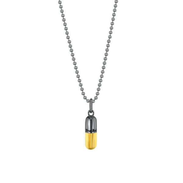 Gun Metal Sterling Silver & 18kt Gold Plated SMALL Pill Pendant On Bead Chain – Copy