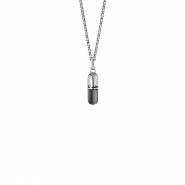 Sterling Silver & Gun Metal Sterling Silver MINI Pill Pendant on Sterling Silver Fine Chain